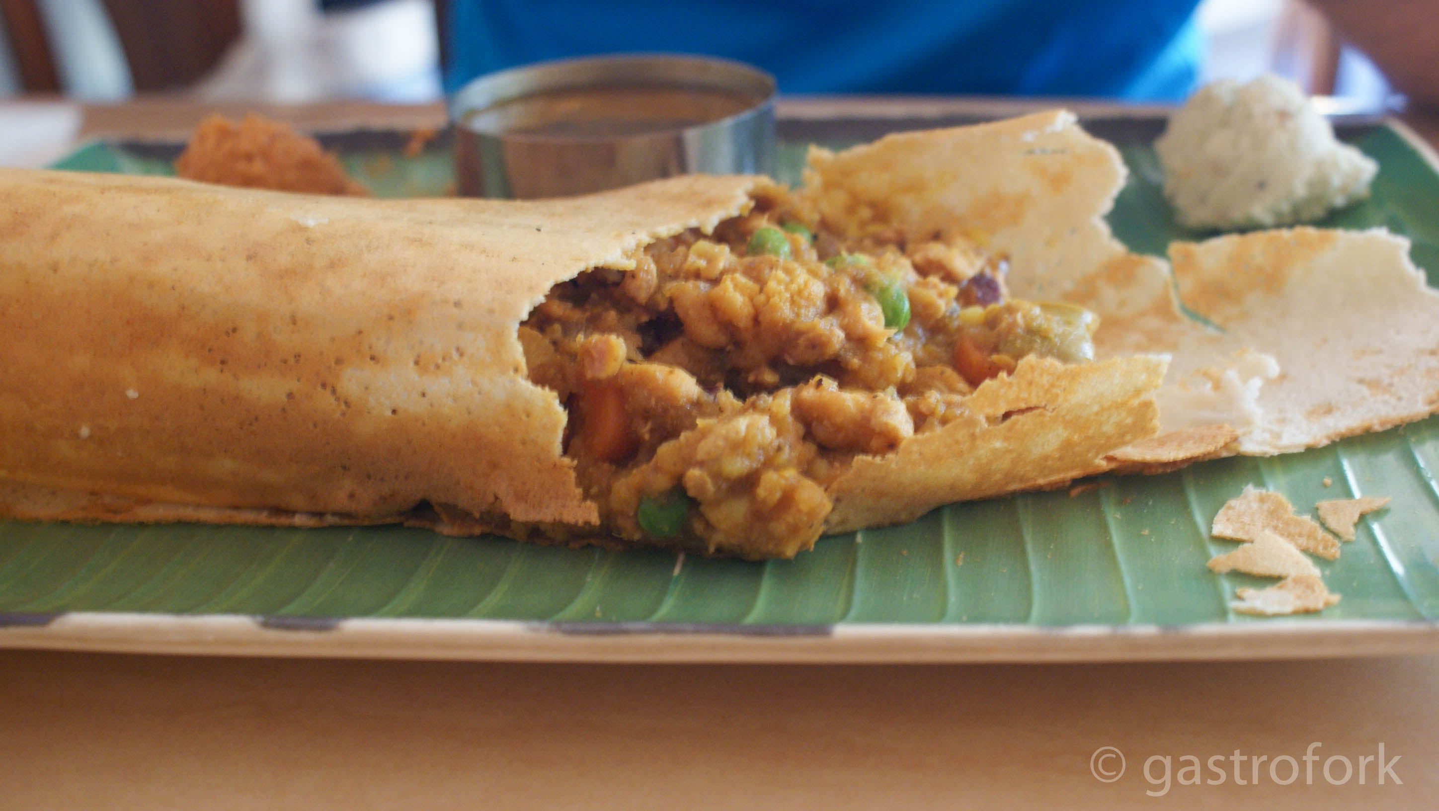 mixed chicken and vegetable dosa