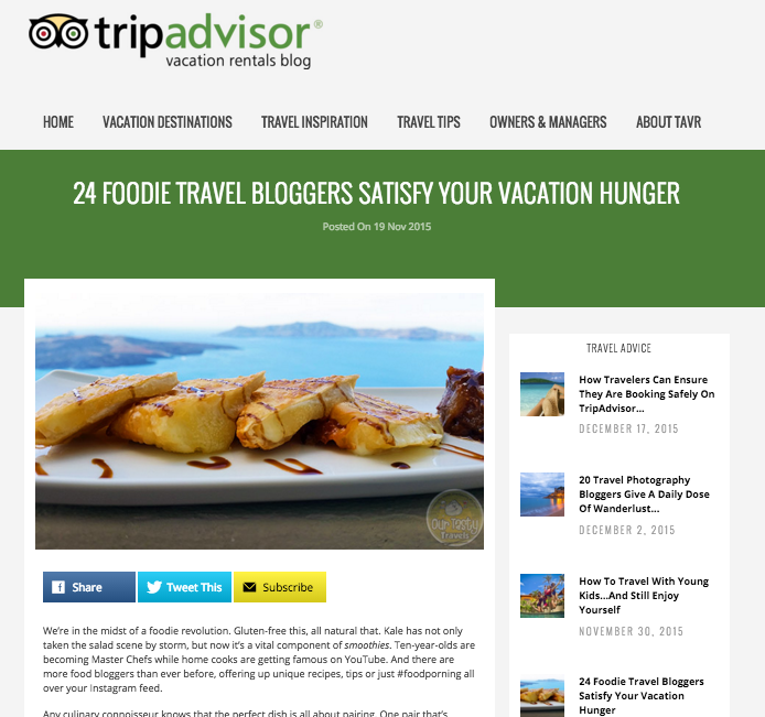 trip advisor food and travel blogger