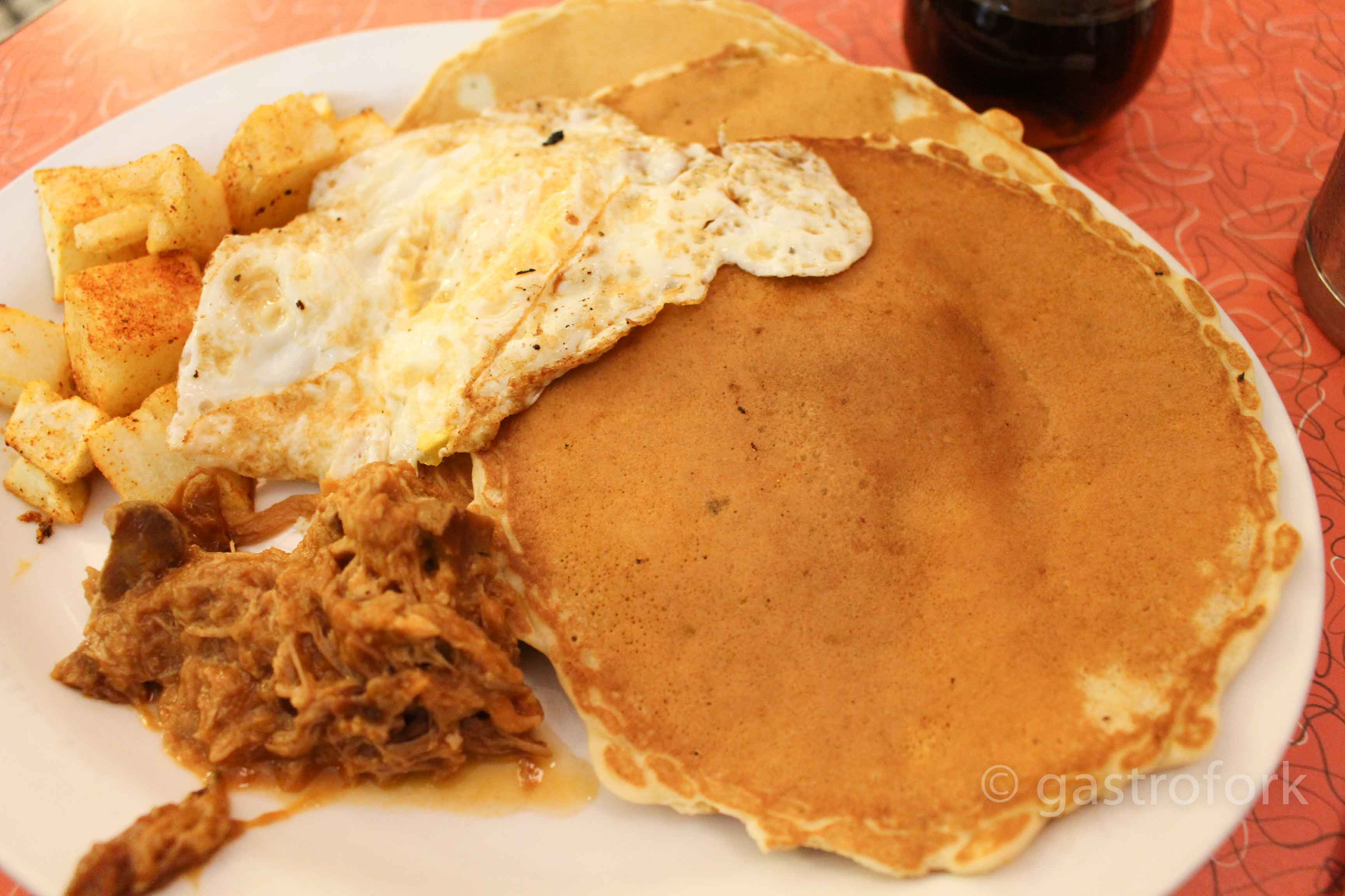 lucys east side diner pulled pork pancakes
