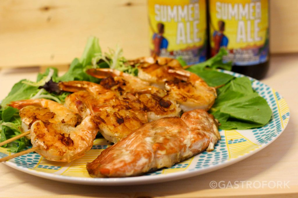 garlic butter prawns recipe granville island brewery summer ale