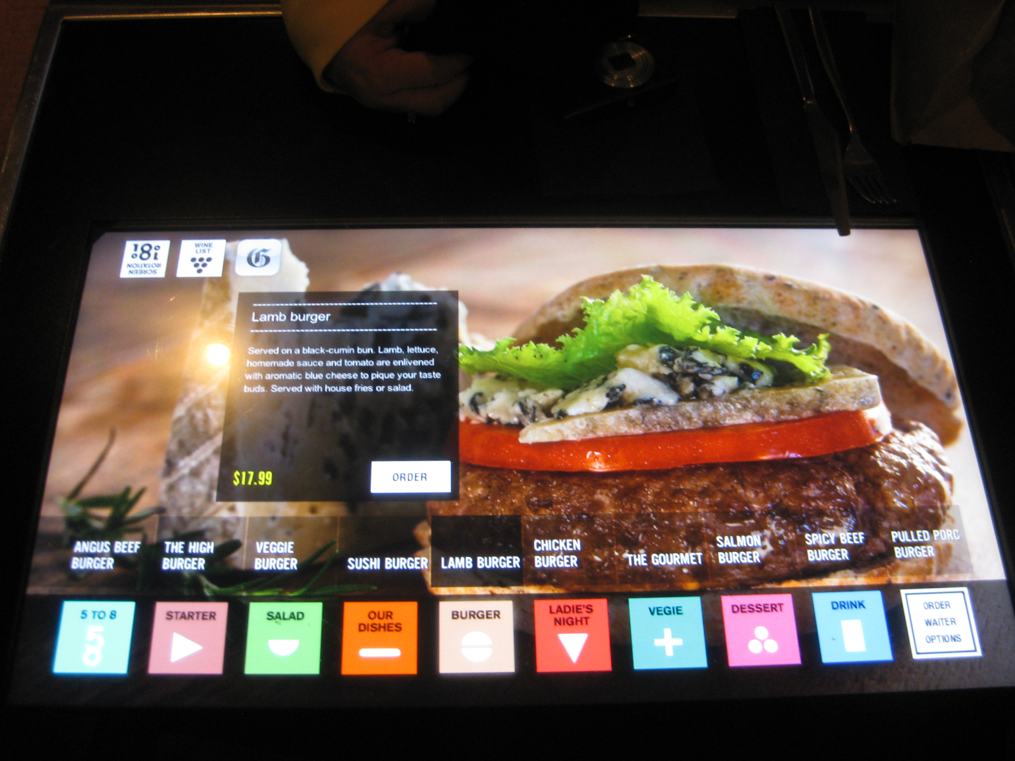 Touchscreen Menu 1 - iBurger