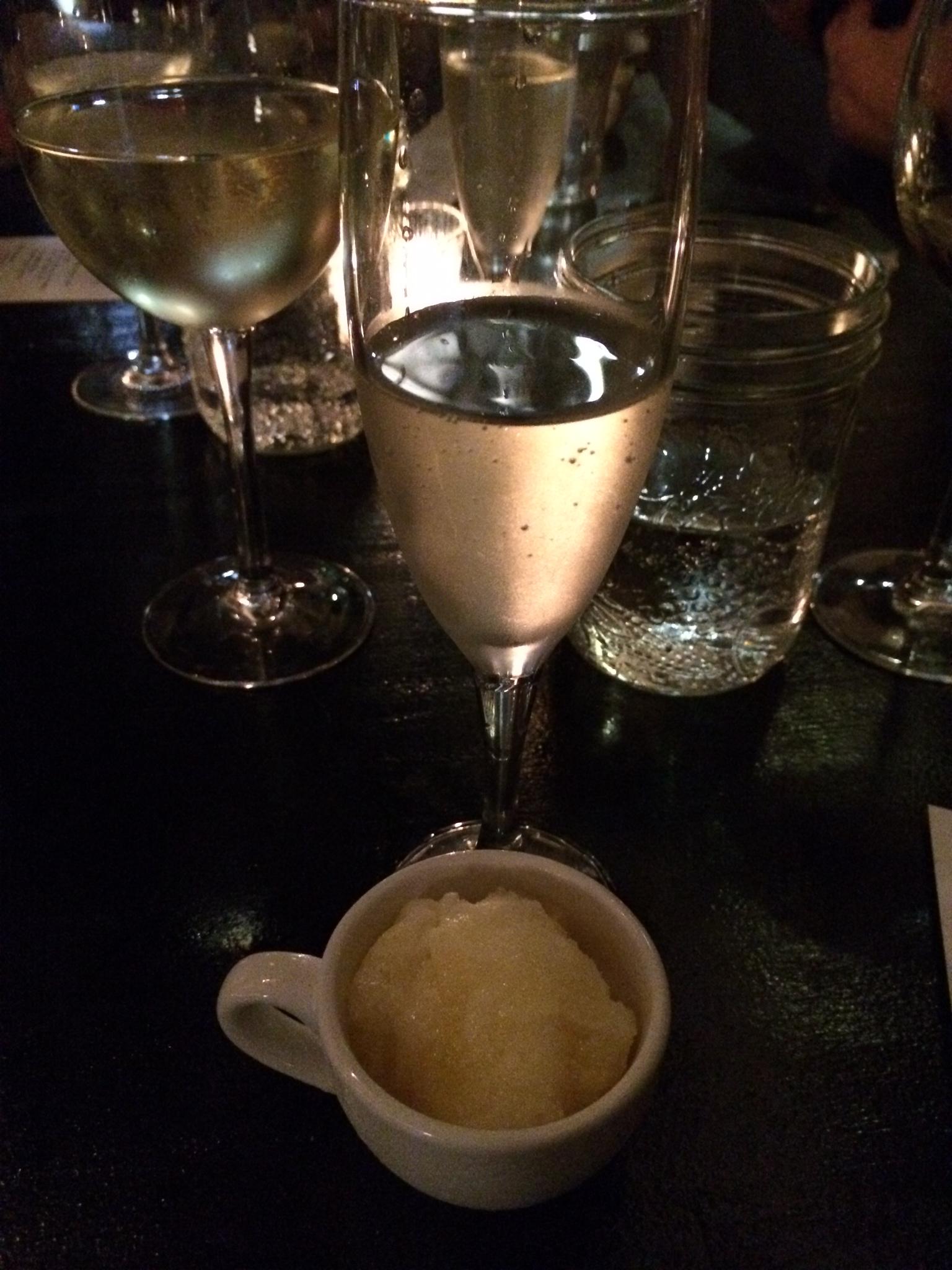 Burgundy Restaurant - Mionetto Prosecco and Orange Galliano Sorbet