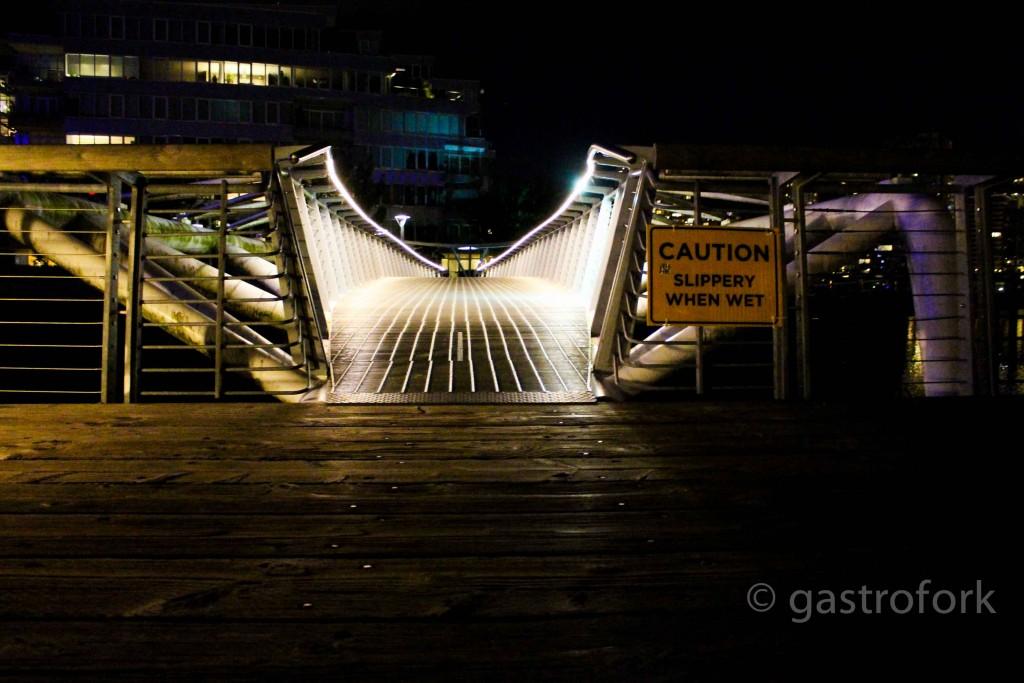 Olympic Village illuminated bridge