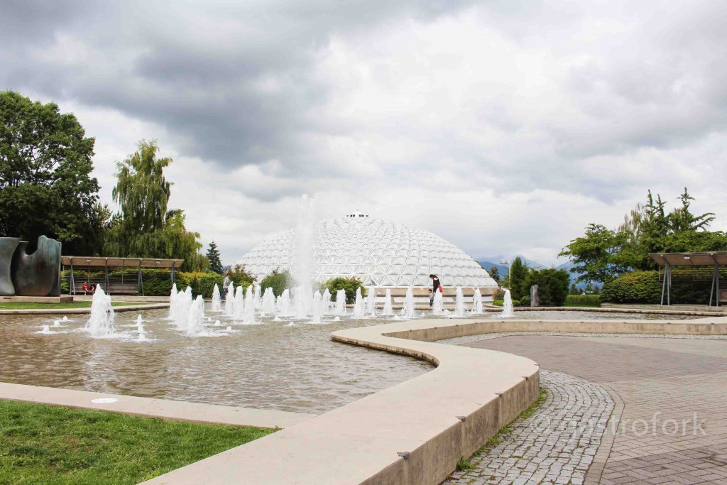 The dancing fountain and Bloedel Floral Conservatory at Queen Elizabeth Park