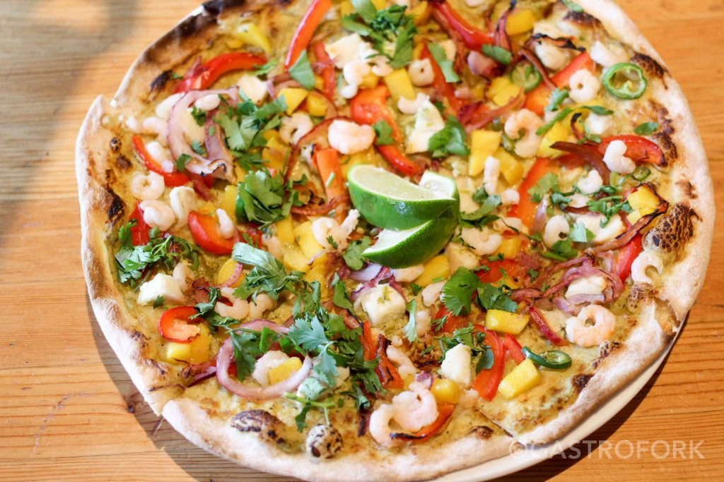 rocky mountain flatbread main street tequila cod shrimp pizza