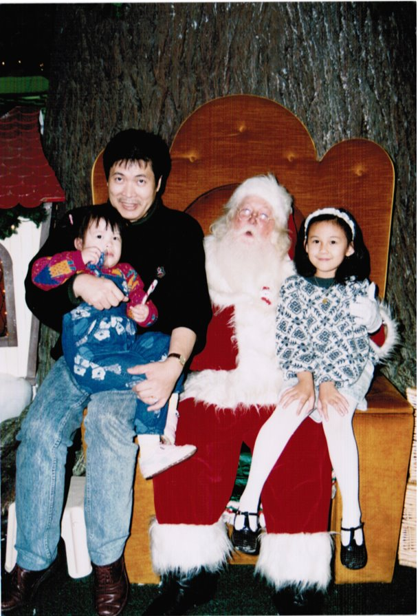 My Dad, Nathalie, Santa and Me.