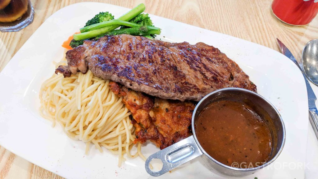 van tea cafe entree new york steak chicken steak