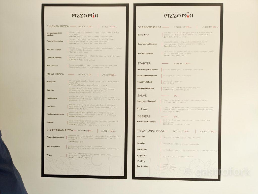 pizza mia cambie menu