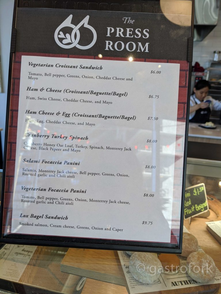 the press room menu vancouver